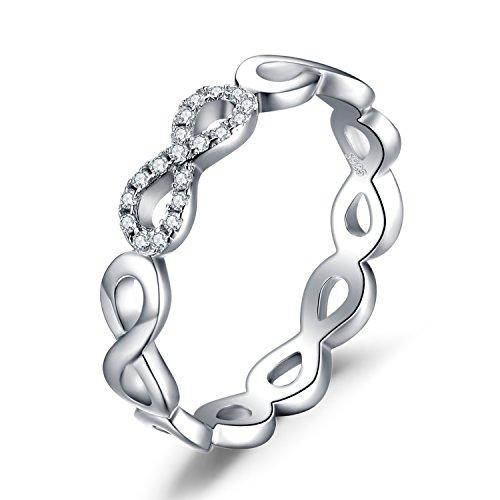JewelryPalace Anillo Infinito Amor Para, Anillos Mujer Plata Diamante Simulado, Anillos Plata de ley 925 Mujer en Oro, Promiso Anillo Mujer Alianzas, Aniversario, Joyería Personalizada