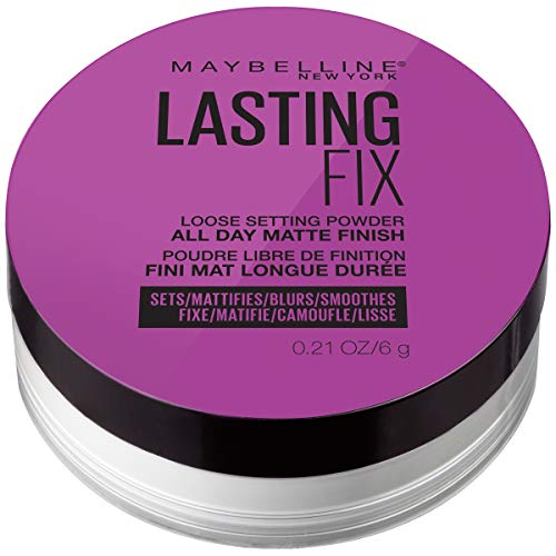 Maybelline Facestudio Lasting Fix Setting + Perfecting Loose Powder Makeup, All Day Matte Wear, Minimizes Shine, Sets Foundation Makeup, Translucent, 0.21 oz.