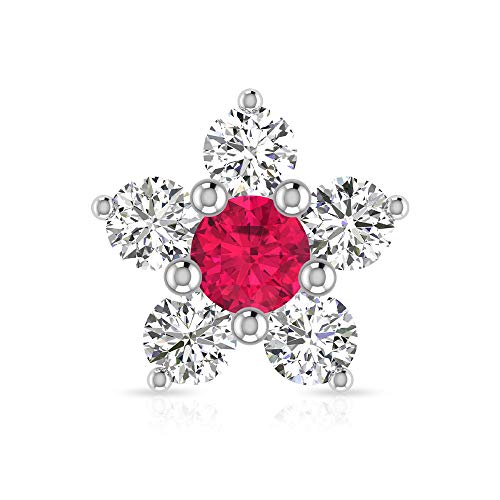 Rosec Jewels 10 quilates oro amarillo redonda Round Brilliant Red Moissanite Rubí, relleno de vidrio