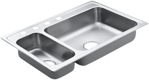 Moen 4 Oklahoma City Mall years warranty 22823 Excalibur Hole Stainless Steel Double 22 Bowl Gauge