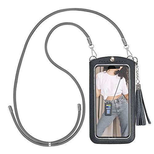 Takyu - Bolso para teléfono móvil con correa de nailon y tarjetero de 3 ranuras, tamaño M, color negro mate