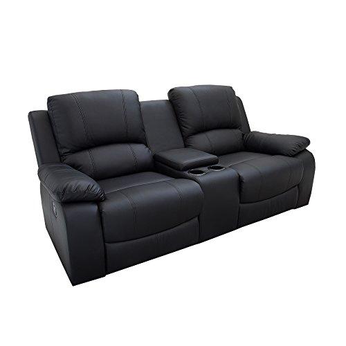 Riess Ambiente Retro 2er Kinosessel Hollywood schwarz Kunstleder Zweisitzer Sessel mit Getränkehalter Verstellbarer Fernsehsessel 2 Sitzer mit Liegefunktion