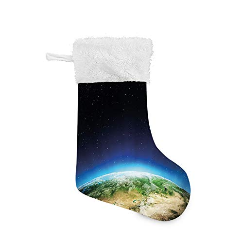 Jieaiuoo Christmas Stocking Hanging Decoration,Russia from The Space Starry Night Sky Vivid Lands Science Cartography,Christmas Holiday Ornaments Home Decor Toys Candy Gift Bag