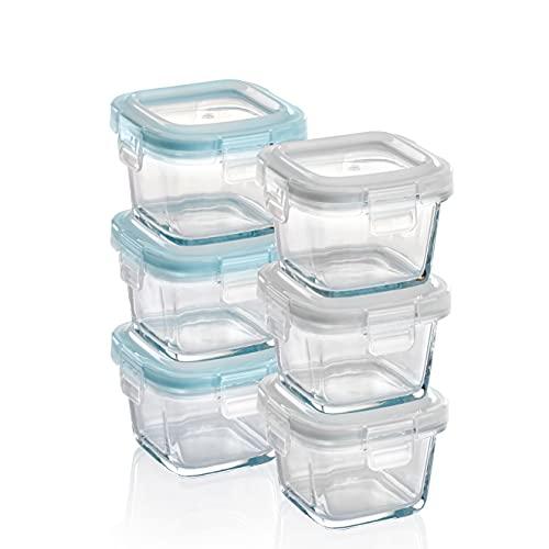 GRIZZLY Recipientes de vidrio para almacenamiento de alimentos para bebés - Mini platos a prueba de horno con tapas - Cuadrado de 6 x 160 ml - Hermético al aire y a los líquidos