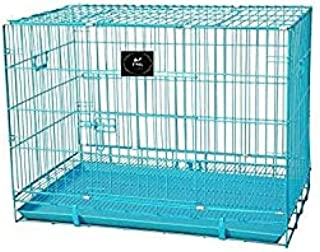 PSK Paws Cause Powder Coated Iron Dog Cage with Removable Tray (Blue, 18 Inch)