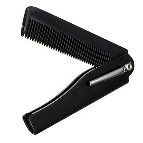 BOLUOBAO Peigne Barbe Pliable Homme Courte Léger Peigne Barbe Poche Couteau Petite Peigne Cheveux Mini (Taille Unique, Noir A)