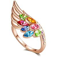 CDE Rose Gold Plated Brass Angel Wing Fashion Rings