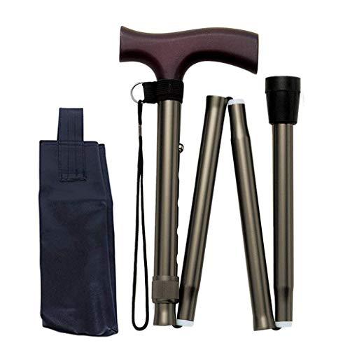 YYhkeby Bastón de viaje plegable ajustable para alpinismo y muletas para hombres y mujeres, portátil, balanceado Walker Ele. Jialele (color: gris)