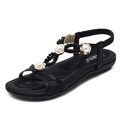 Sandalias 2019 Nuevas Sandalias de Mujer Europeas y Americanas Playa de Vacaciones Junto al mar Hadas con Cuentas Piedras de Strass Zapatos Planos Grandes de tamaño Negro, 37 (Ropa)