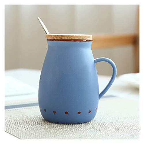 Taza de café Taza Taza de leche de cerámica de estilo retro con tapa de bambú y cuchara de acero inoxidable Taza de café de desayuno multiusos adecuado para oficina y hogar Taza de té leche Taza