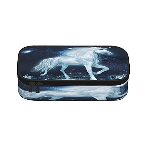 Estuche de lápices de cristal de unicornio, de gran capacidad, bolsa de almacenamiento para rotuladores, simple bolsa de papelería