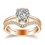 Ploy Pailin Anillos Sortijas 14k Argollas de Compromiso Matrimonio Oro Plata 925 para Mujer (9)