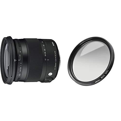 Sigma 17-70 mm f2,8-4,0 Objektiv (DC, Makro, OS, HSM, 72 mm Filtergewinde) für Canon Objektivbajonett & Walimex Pro Polfilter zirkular Slim 72 mm (inkl. Schutzhülle)