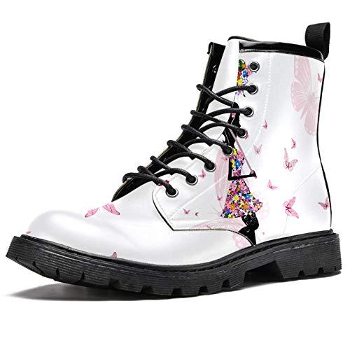 BENNIGIRY Niña Floral con Vestido De Flores Paraguas Mariposas Rosa Botas de caña Alta para Mujer Zapatos clásicos de Invierno Zapatos de Cuero Casuales