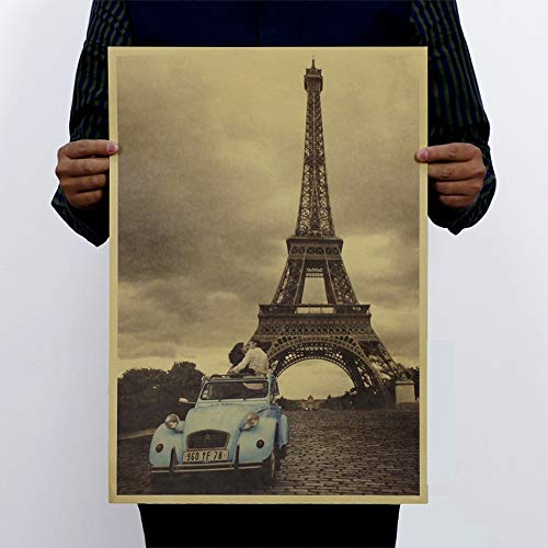 BLOUR Vintage Poster Paris Eiffel Tower Nostalgia Photo Kraft Art Murals Paper Retro Poster Wall Stickers For Bedroom Plane Wall Decal