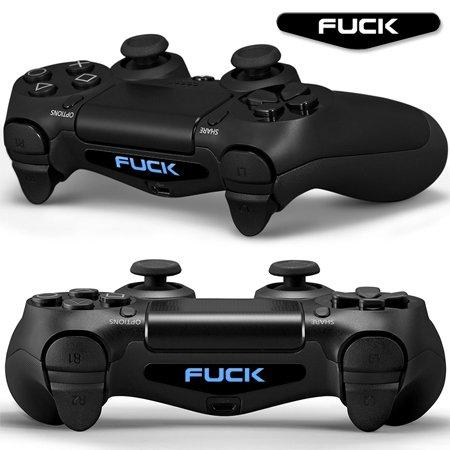 Gaminger 2X LED Sticker 2X Thumb Grips für Playstation 4 Controller Light Bar Decal Skin Sticker – Fuck