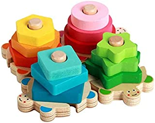 UKR Turtles Wooden Puzzle Stacking educational toy for 1 2 year old