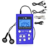 BTECH MPR-AF1 AM FM Personal Radio with Two Types of Stereo Headphones, Clock, Great Reception and Long Battery Life, Mini Pocket Walkman Radio with Headphones (Blue)