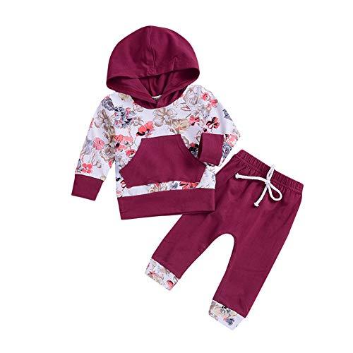 Baywell Baywell Baby Jungen Mädchen Kleidung Outfits Sets Neugeborene Säugling Kleinkind Langarm Floral Bedruckte Mit Kapuze Tops T-Shirt + Hosen Passende Kleidung Anzug