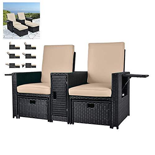 Patio Wicker Sitzer-Couch, Verstellbare Lounge Chair Außen Rattan Sofa Set für Garten, Terrasse, Balkon, Strand, Coffee Bar, Deck (5 Stück)