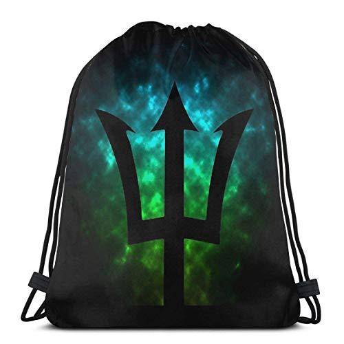 GAMSJIM Bolsas de Cuerdas Deportes Mochila de Viaje Mochila Escolar Bolsas con cordón Bolsa de Gimnasio Bolsa de Drawstring Bags Trident Poseidon Percy Jackson