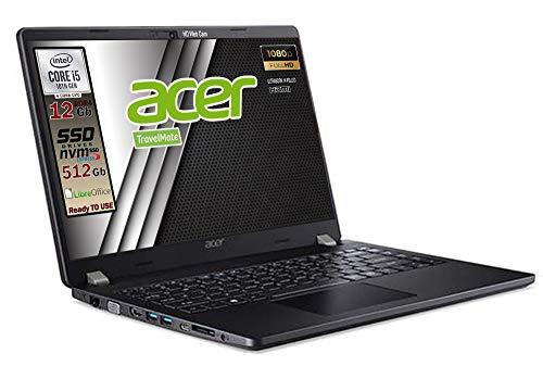 Notebook Acer TRAVELMATE SSD, Intel 4 Core i5 10210U fino a 4,2 Ghz, RAM 12GB, SSD M.2 PCi 512GB, Display 14  Full HD, tastiera retroilluminata, 3 usb, wi-fi, hdmi, lan Win 10 pro, pronto all uso