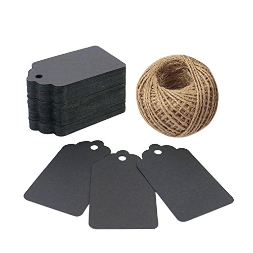 Gift Tags,100 PCS Paper Tags with 100 Feet Jute String for Arts and Crafts, Wedding Christmas Day Thanksgiving,7 cm X 4 cm (Black)