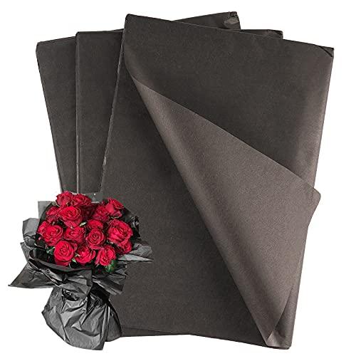 45hojas Papel de Seda Negro para Envolver Regalos Flores 50x70cm Papel de Regalo para Decoración Manualidades San Valentín...