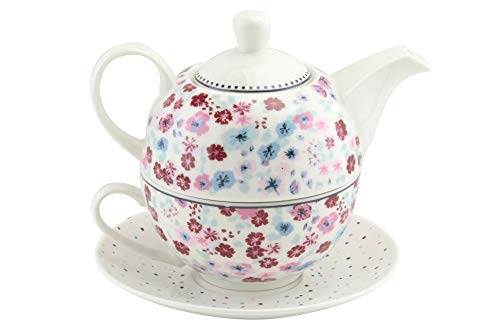 EHC Vintage Floral New bone China Tea for One Teapot Cup saucer Set, Beautifully Gift Boxed