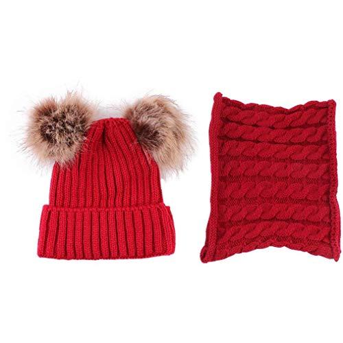 XKJFZ 2Pcs / Set Baby-Strickmütze Entzückende Beanie Baby Mütze mit Schal Schöne Mütze und Schal für Kinder, Rot Winter warm Supplies