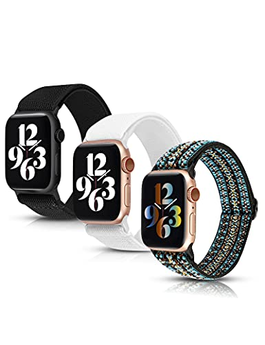 Moolia 3 Packs Stretchy Nylon Loop Compatible with Apple Watch Band 38mm 40mm Women, Adjustable Soft Elastic Strap Sport Men for iWatch Series SE 6 5 4 3 2 1, Black/Bohemia Blue/White
