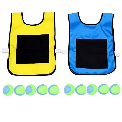 NUOBESTY Juego de Juego de Chaleco de Bola de Palo para Niños Esquivar Bola Chaleco de Bola Pegajoso Accesorios de Juego Al Aire Libre con 10 Piezas de Bolas de Lana Suave Seguras para