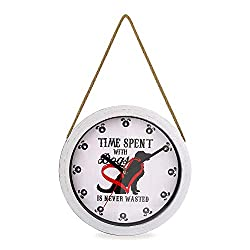 ClumsyPets Wall Clock, Silent Non Ticking 10 Inch Battery Operated Quartz Wall Decor with Rope Hanger for Kids Room, Kitchen, Living Room, Bedroom,Classroom, Office-Distressed White (Dog)
