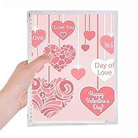 幸せなバレンタインデー愛があなたの心臓 硬質プラスチックルーズリーフノートノート