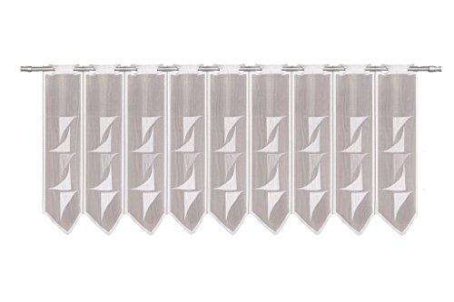 Tenda della Finestra Astratto Altezza 60 cm | può Scegliere la Larghezza in segmenti da 30 cm, Come Vuole | Colore: Bianco | Tendine Cucina