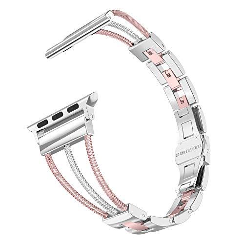 Ownaco Kompatibel mit Apple Watch 5 Armband 40mm Rose Gold Rostfreier Edelstahl Frau iWatch 38mm Armbänder Ersatzband Uhrenarmband für iWatch/Apple Watch Serie 5/4/3/2/1