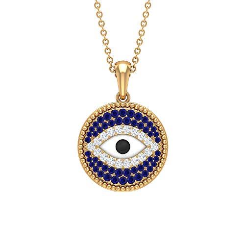 Rosec Jewels 14 quilates oro amarillo redonda Blue Blue Sapphire Diamond