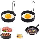 Dream HorseX Anillo de Huevo, Moldes para Huevos Fritos, Resistente al Calor, Molde para panqueques, Anillo para freír Huevos, para Huevos Frito y Panqueques, 7.5 cm, 2 Piezas