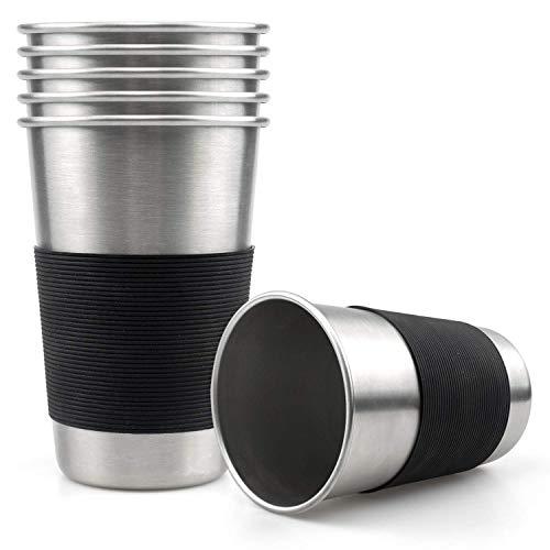 Lawei 6 unidades Acero inoxidable vasos de pinta Taza de Acero Inoxidable con mangas de silicona para al aire libre Camping - 450 ml