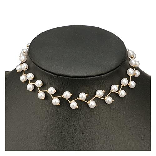 zlw-shop Collar de Mujer Moda Mujeres Collar Pearl Collar Declaración Damas Collares Dorado Color Aleación Joyería Gargantilla Regalo de cumpleaños Collares Pendientes (Metal Color : Gold)