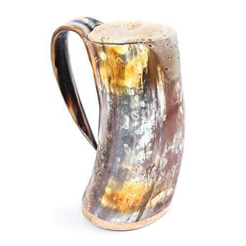 Norse Tradesman Original Viking Drinking Horn Mug - 100% Authentic Beer Horn Tankard w/Natural Surface & Burlap Gift Sack  'The Original', Unpolished, X-Large