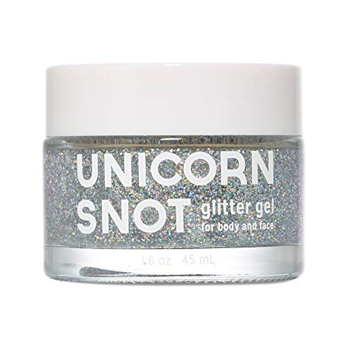 Unicorn Snot Holographic Body Glitter Gel - Vegan & Cruelty Free, Perfect for Festival, Rave, Halloween, Costume, Silver, 1.7oz