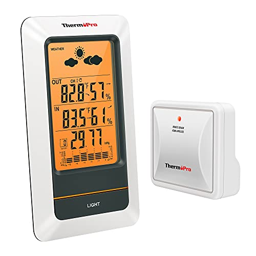 ThermoPro TP67A Waterproof Weather Station Wireless Indoor Outdoor Thermometer Digital Hygrometer Barometer with Cold-Resistant and Waterproof Temperature Monitor,330ft/100m Range