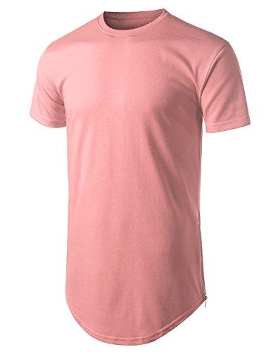 URBANCREWS Mens Hipster Hip Hop Basic Longline Crewneck T-Shirt Pink, XL