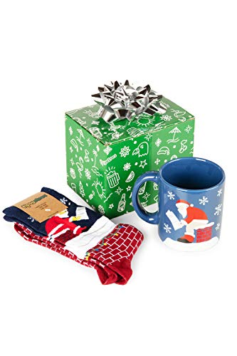 Tipsy Elves Hilarious - Juego de tazas y calcetines navideños, Log on the Fire, Talla única
