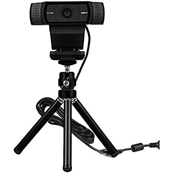 Lightweight Mini Webcam Tripod for Smartphone, Logitech Webcam C920 C922 Small Camera Desk Tripod Mount Cell Phone Holder Table Stand (Black)
