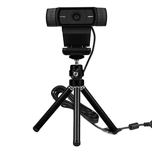 Lightweight Mini Webcam Tripod for Smartphone, Logitech Webcam C920 C922 Small Camera Desk Tripod Mount Cell Phone Holder Table Stand (Black)