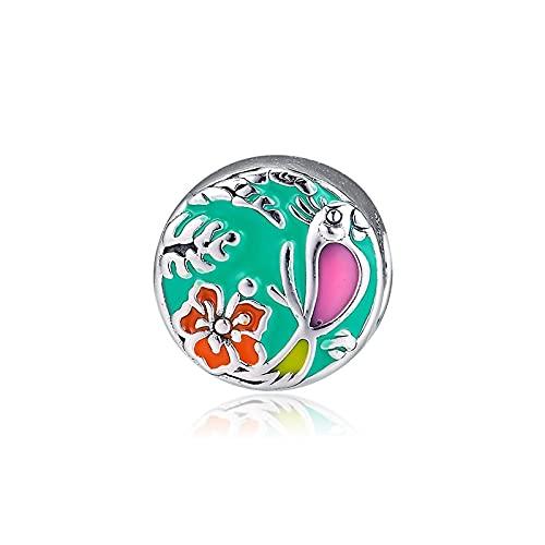 LISHOU DIY 925 Plata Esterlina Esmalte Colorido Enchanted Tiki Room Charm Beads Fit Pandora Pulsera Collar para Mujeres Joyería Que Hace Regalo
