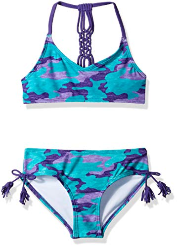 Kanu Surf Girls' Toddler Willow V-Neck Bikini Beach Sport 2-Piece Swimsuit, Erin Purple Camo, 4T