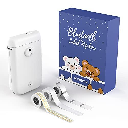 MUNBYN Tragbarer Etikettierer, Bluetooth Etikettiergerät, kabelloser Mini-Thermo-Etikettendrucker mit 3 Rollen Etikettenband, Name, Preis, Verfallsdatum, Aufkleber